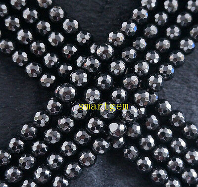 New Natural 8mm Faceted Black Agate Round Loose Beads 15""