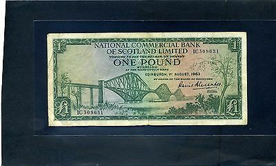 Scottish National Commercial  Bank of Scotland One Pound £1 Banknote 1963