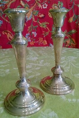 Pair Gorham  sterling sectional candle holders. Easter.