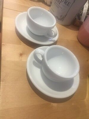 Set Of Two Chunky Expresso Cups And Saucers White