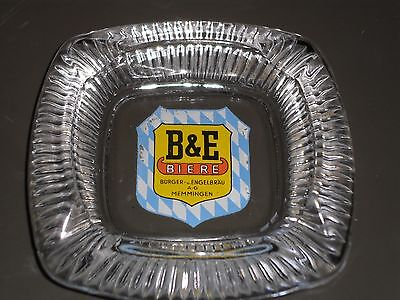 "Rare Vintage B&E Beir Ashtray 5 1/4"" Square Clear Glass West German Beer"