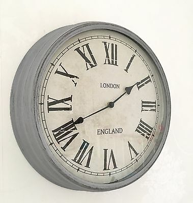 Shabby Chic Grey Distressed Large Wall Metal Clock French Vintage London England