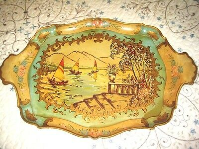 Rare Antique Aqua Yellow Hand Painted Paper Mache Sailboat Pastoral Scene Tray