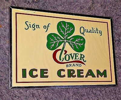 1920's Clover Ice Cream  Reverse Painted Glass Sign