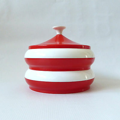 60s RETRO plastic red/white food/jewellery/makeup storage 2-part pot/container