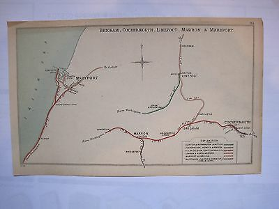 1904 RAILWAY CLEARING HOUSE Junction Diagrams.BRIGHAM,COCKERMOUTH,LINEFOOT.