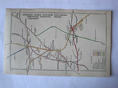1920 RAILWAY CLEARING HOUSE Junction Diagram No.23 DONCASTER AREA.