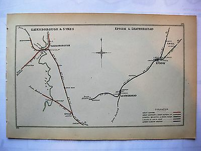 1903 RAILWAY CLEARING HOUSE Junction Diagrams.GAINSBOROUGH & SYKES/EPSOM.