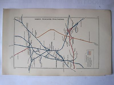 1928 RAILWAY CLEARING HOUSE Junction Diagram No.23 DONCASTER AREA.