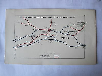 1928 RAILWAY CLEARING HOUSE Junction Diagram No.31 FALKIRK AREA.