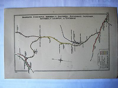 1920 RAILWAY CLEARING HOUSE Junction Diagrams.SHIREOAKS/BRANCLIFFE/THRYBERGH.