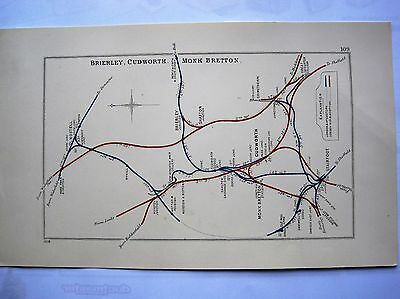 1928 RAILWAY CLEARING HOUSE Junction Diagrams. BRIERLEY,CUDWORTH & MONK BRETTON.