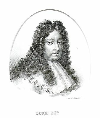 King Louis XIV of France (The Sun King) - Early Lithograph after Garnier- 1825