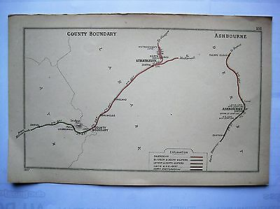 1907 RAILWAY CLEARING HOUSE Junction Diagrams.COUNTY BOUNDARY / ASHBOURNE.