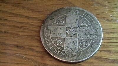 A Victorian  Sterling Silver Gothic Florin Coin  #3