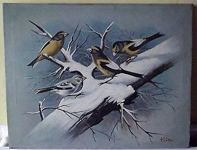 Old Oil Painting on Canvas - Finches - 1974