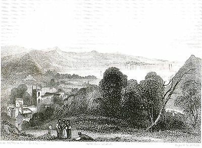 Bangor Cathedral, Gwynedd, Wales - Engraved by B. Winkles after C. Warren c1828