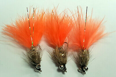 3 X GOLD HUMUNGUS LONG SHANK LURES SIZE 8 TROUT FISHING FLIES BCLS01