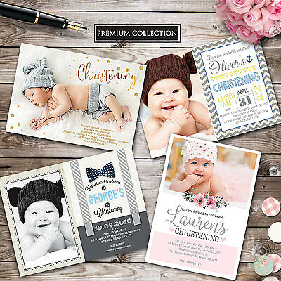Personalised Photo Christening Invitation • Baptism • Naming day • Boy • Girl
