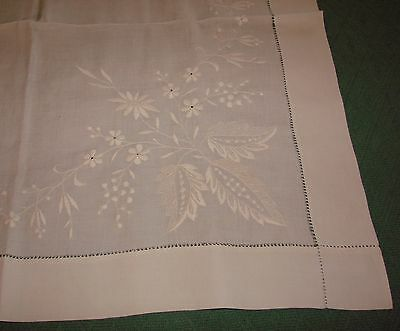 Pair Antique Finely Embroidered Fine Linen Pillow Shams, Overlay Shams