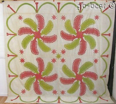 AMAZING 1850s Princess Feather Stars Antique Applique Quilt TOP Turkey Red Green