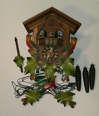 Vintage Floral German Coo Coo Clock With Birds - Weights included