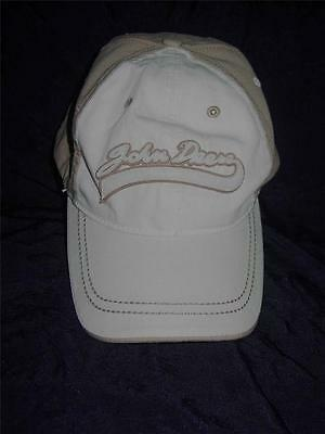 John Deere Tan Off White Washed Twill Hat Baseball Cap Adjustable One Size Fits