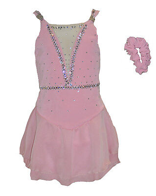 Jerrys Crystal Pink Sparkle Competition Dress Figure Ice Skating Senior Adults L