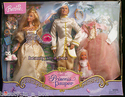 Anneliese Julian Princess and the Pauper Wedding Giftset Barbie Ken Kelly Doll ""