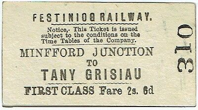 Railway Ticket Festiniog Rly 1st Class Single Minfford Junction to Tany Grisiau