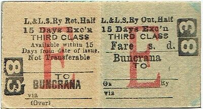 Railway Ticket Londonderry & Lough Swilly Rly 3rd Cl Return Buncrana to (blank)