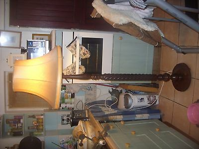 Vintage Oak  barley twist Standard Lamp With  Shade ( newly rewired )|