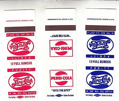 Pepsi:cola Match Book Covers 3 Different