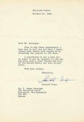 President Richard Nixon- TLS about Attending the Shah's Funeral