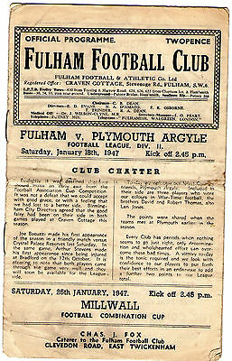 FULHAM V PLYMOUTH *Saturday January 18th 1947**