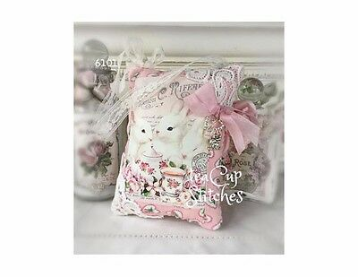 Sweet Cat~Pink Roses~Teacup~SHABBY CHIC KITTEN PILLOW~French~Heart Charm~6097