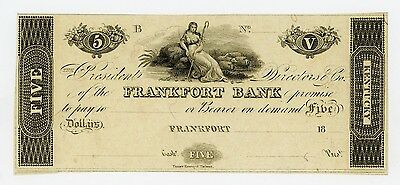 1800's $5 The Frankfort Bank - KENTUCKY Note AU