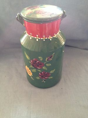 Canal barge painted roses milk can