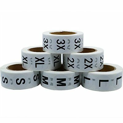 Hybsk(TM) White Round Clothing Size Stickers Adhesive Labels For Retail