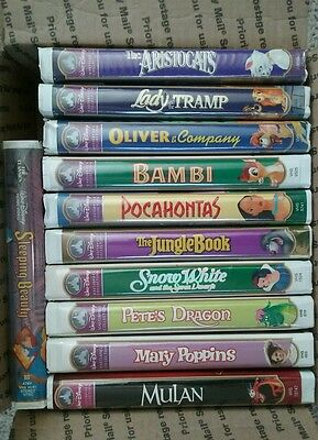 Lot of 10 Walt Disney Masterpiece Collection AND 1 Black Diamond VHS TAPES