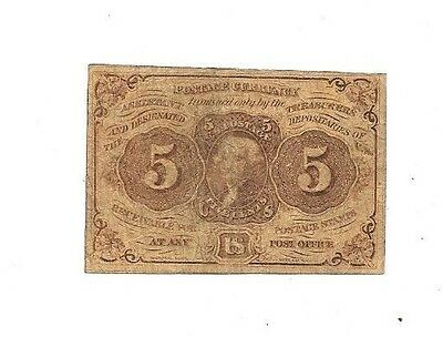 1862 5 Cents First Issue Jefferson Postage Fractional Currency