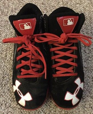 Boys Under Armour Cleats Cleets Baseball Black Red Size 1.5 Youth