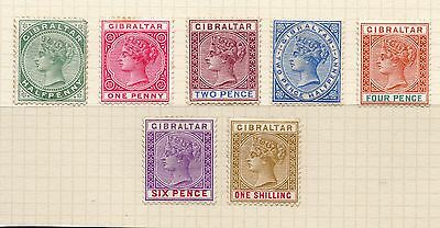 Gibraltar 1898 Victoria Sg39-45 Full Set To 1/- Mounted Mint