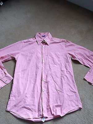 Paul Smith London mens 16', 41cm collar large L formal shirt, pink, button cuff