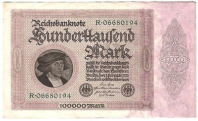 1923 Germany 100000 Mark Banknote  R06680194