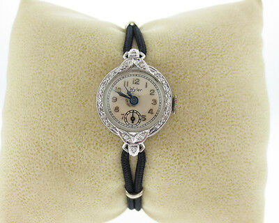"Antique Vintage Estate Wyler Platinum Diamonds 6.25"" Women's Wrist Watch"