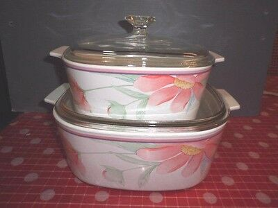 2 x Pyrex Corningware  Casserole / Serving Dishes with Glass Lids