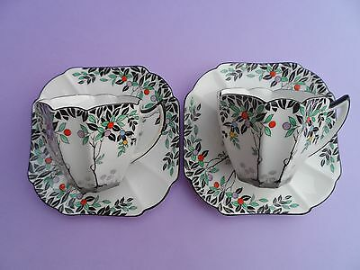 "Pair of Shelley ""Black trees"" 11476 Queen Anne demitasse cups & saucers. C.1926."