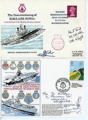 2 Royal Navy,  First Day Covers,  Admiral & Pilots signed, Aircraft Carriers
