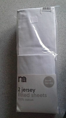 Mothercare 2 Pack White Jersey Cotton Fitted Travel Cot Sheets Baby Bedding